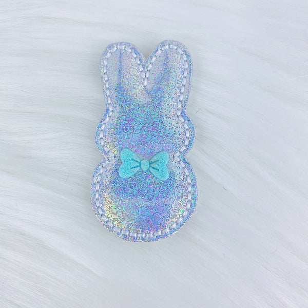 Holographic Bunny Blue Bow Feltie | CHOOSE YOUR HARDWARE
