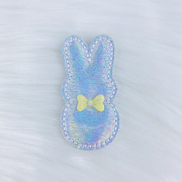 Holographic Bunny Yellow Bow Feltie | CHOOSE YOUR HARDWARE