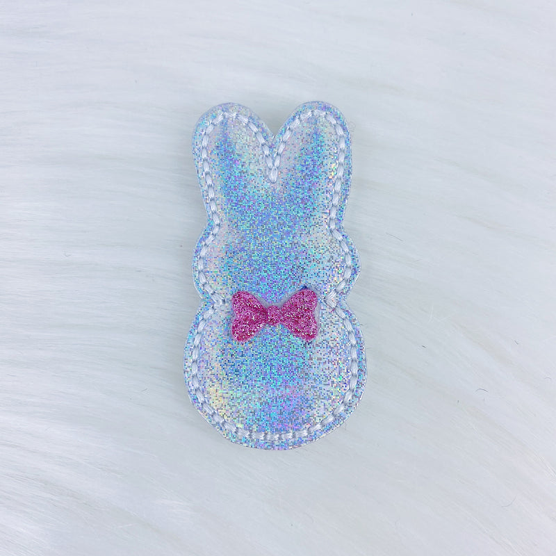 Holographic Bunny Pink Bow Feltie | CHOOSE YOUR HARDWARE