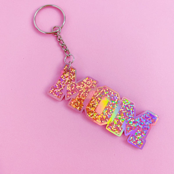 MOM Rose Gold Holographic Acrylic Keychain | Includes Keyring