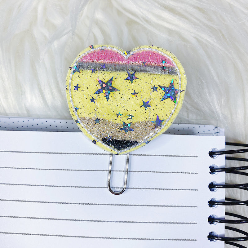 Pencil Heart Feltie Planner Clip