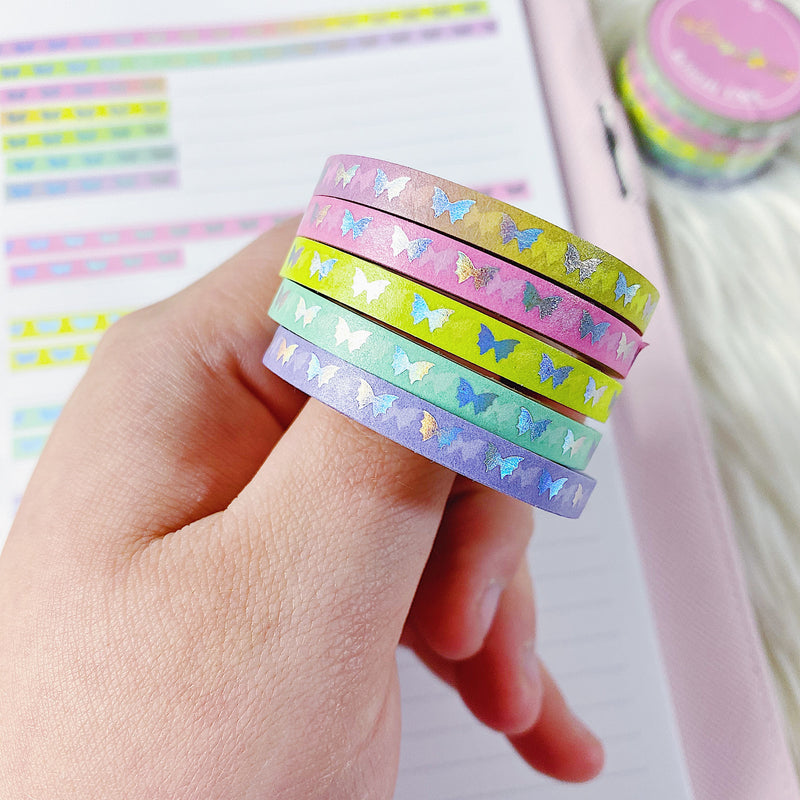 Rainbow Gradient Baby Bat Bows Perforated Header Washi Bundle | (5) 5MM Tapes