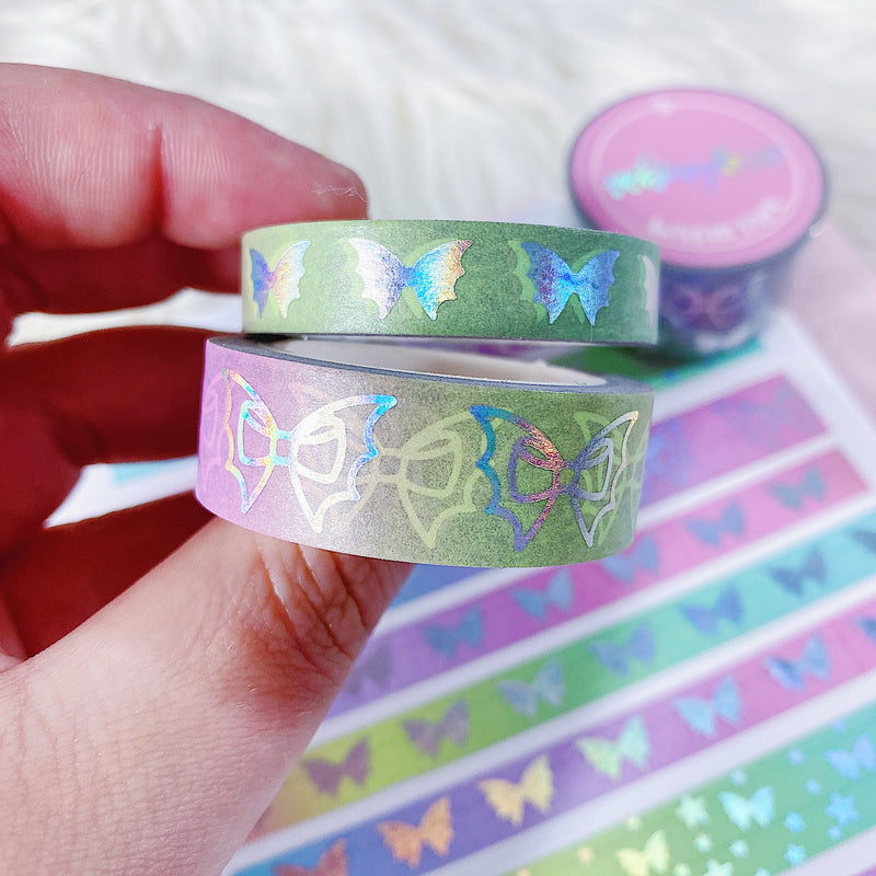 Rainbow Gradient Bat Bow Washi Bundle