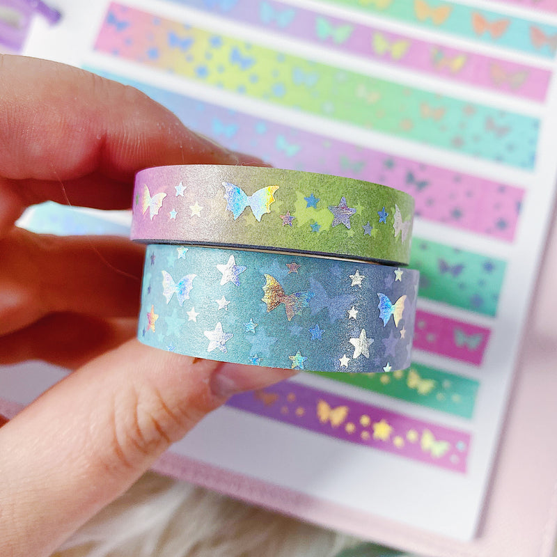 Rainbow Gradient Bat Bow Magic Washi Bundle