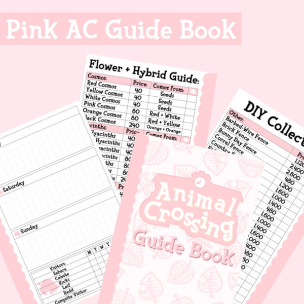 Pink AC ULTIMATE Guide Book Insert | CHOOSE YOUR SIZE | PRINTABLE INSERTS