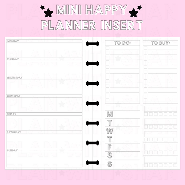 Horizontal WO1P Functional w/ Habit Trackers Mini Happy Planner Inserts