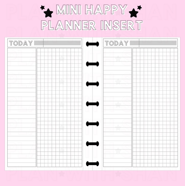 Untimed Daily Grid Mini Happy Planner Inserts | FITS EC SIZE BOXES
