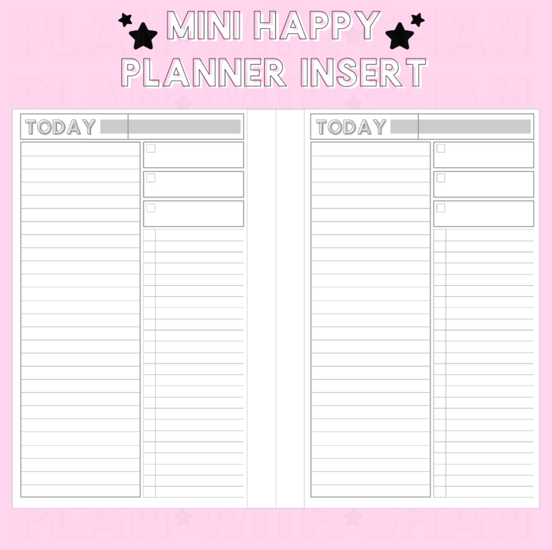 Untimed Daily Checklist Mini Happy Planner Inserts