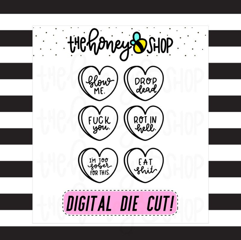 Naughty Babe Convo Hearts | INCLUDES Color + Outline | DIGITAL DOWNLOAD