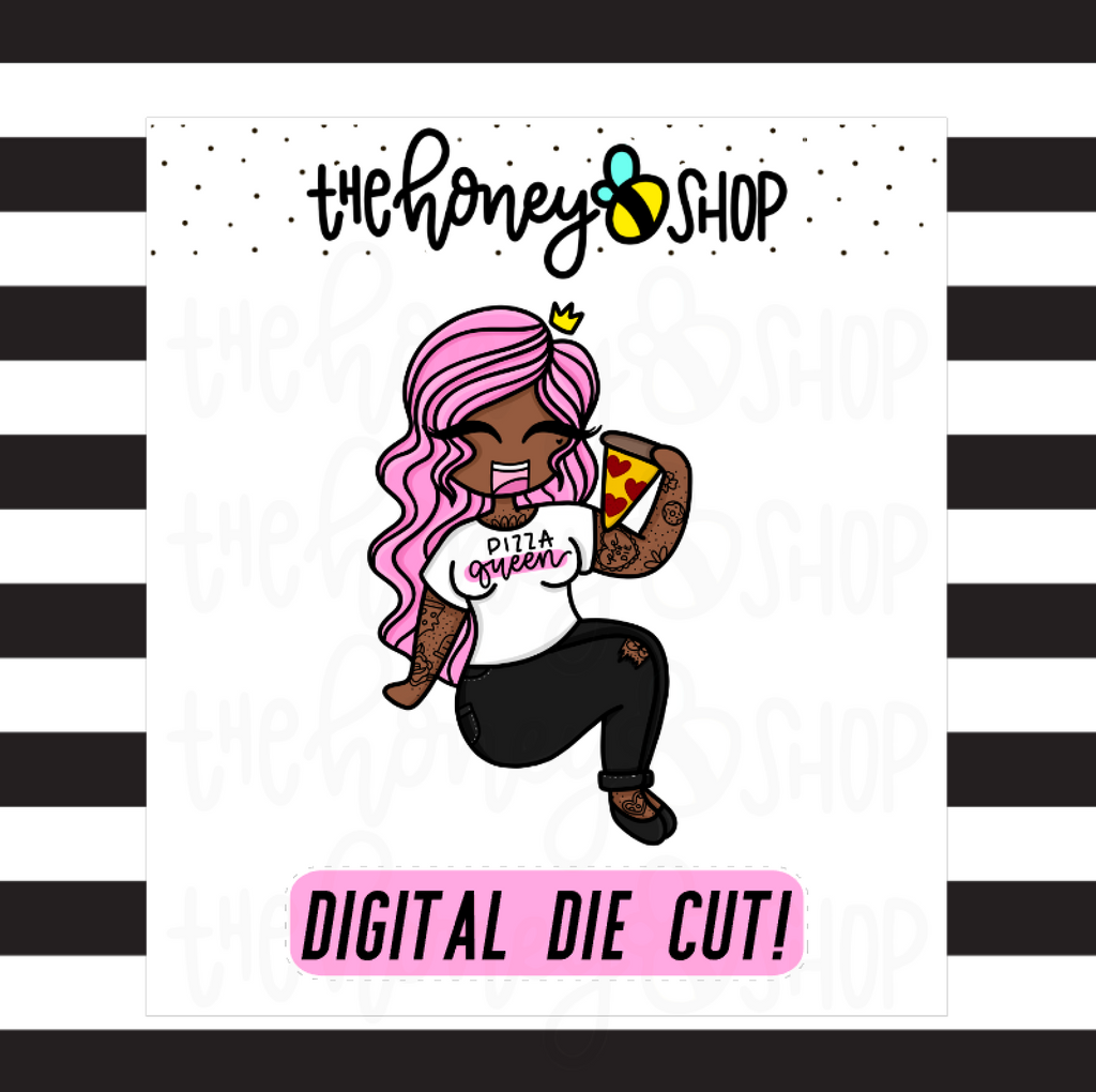 Pizza Queen Babe | DIGITAL DOWNLOAD | PICK YOUR SKIN COLOR