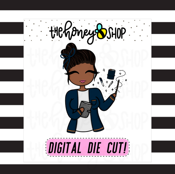 Blue Wizard Planner Babe | DIGITAL DOWNLOAD | PICK YOUR SKIN TONE