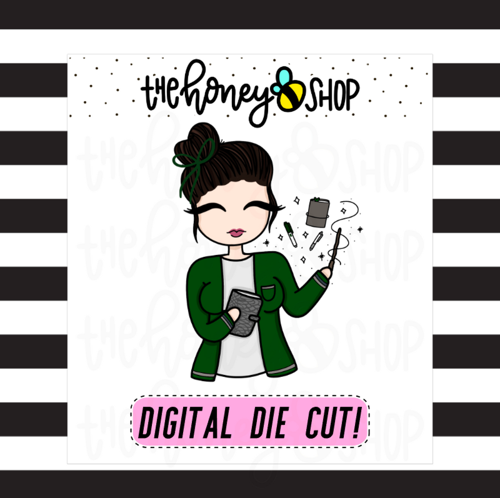 Green Wizard Planner Babe | DIGITAL DOWNLOAD | PICK YOUR SKIN COLOR