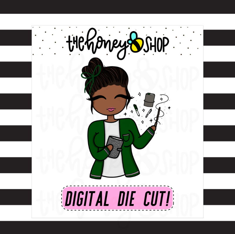 Green Wizard Planner Babe | DIGITAL DOWNLOAD | PICK YOUR SKIN TONE