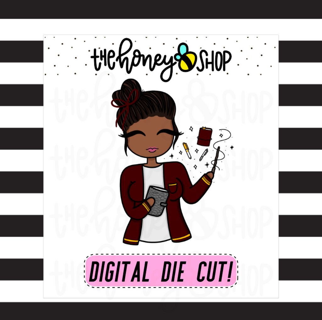 Red Wizard Planner Babe | DIGITAL DOWNLOAD | PICK YOUR SKIN COLOR