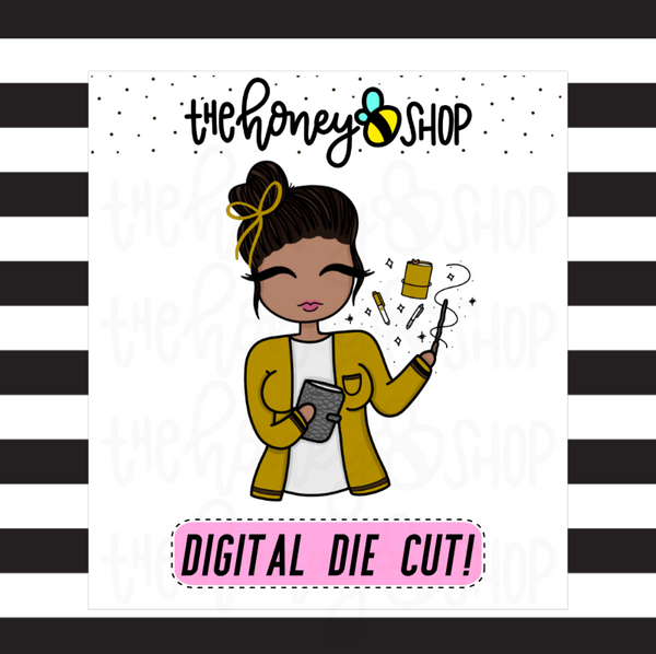 Yellow Wizard Planner Babe | DIGITAL DOWNLOAD | PICK YOUR SKIN TONE