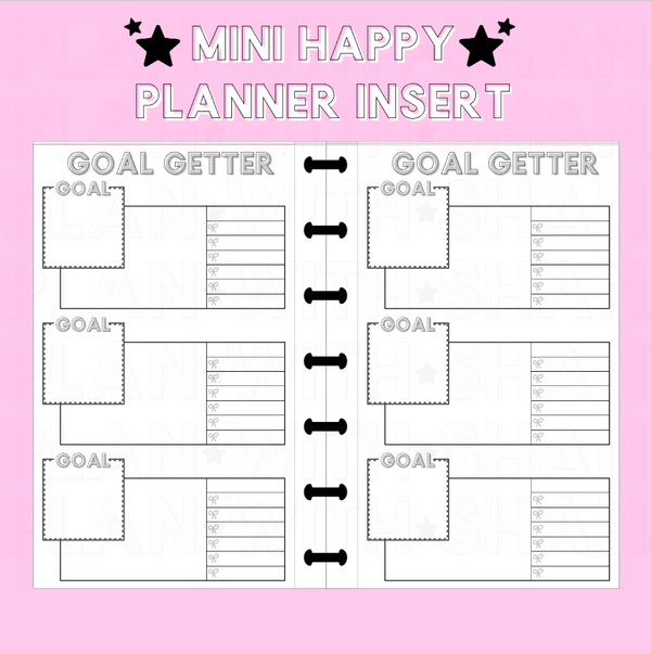 Goal Getter Gray Version Mini Happy Planner Insert