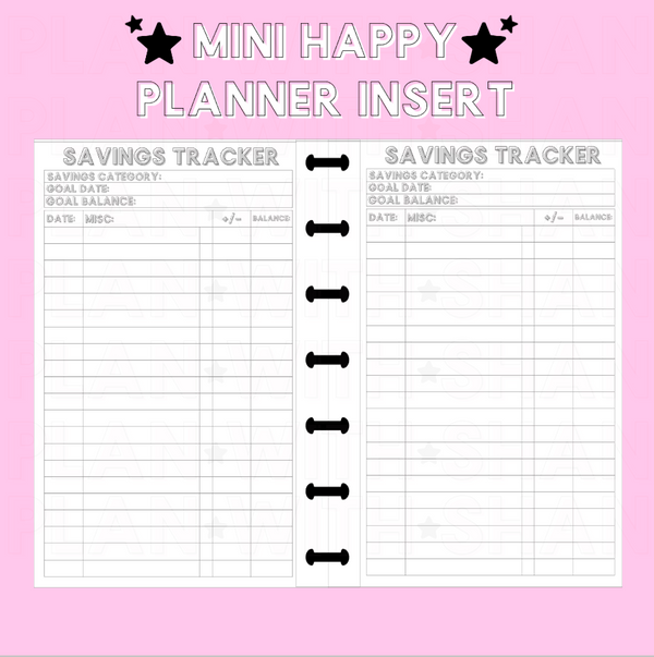 Savings Tracker Mini Happy Planner Insert