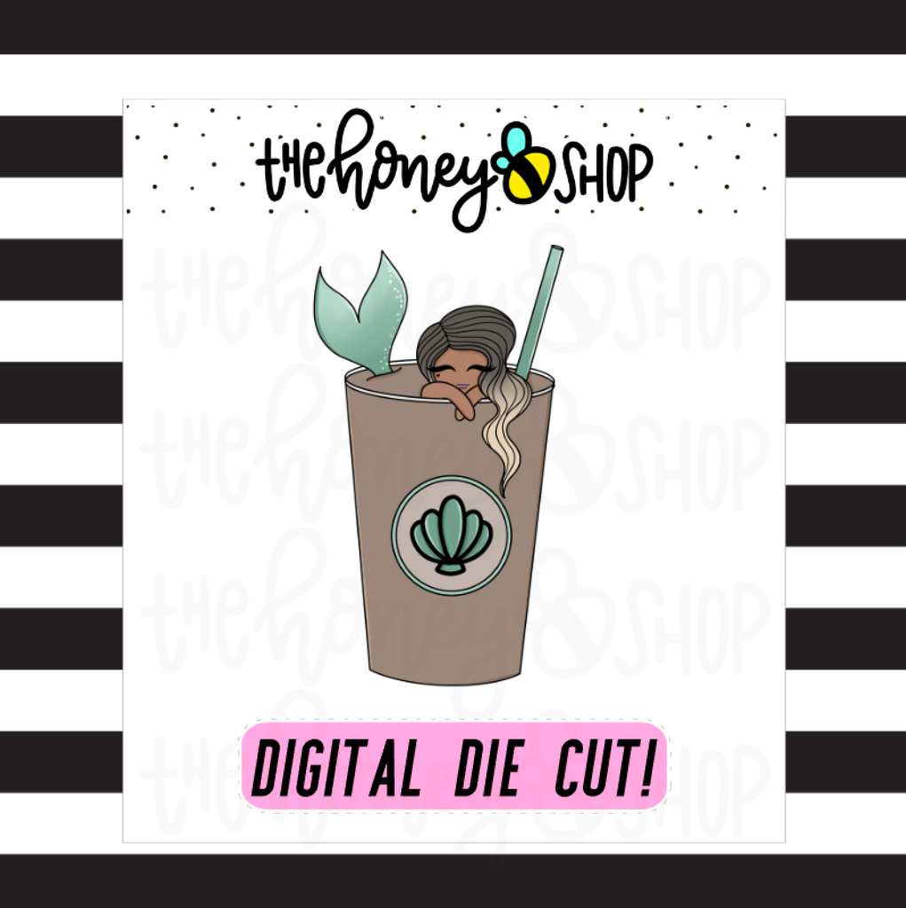 Coffee Mermaid Babe | DIGITAL DOWNLOAD | PICK YOUR SKIN COLOR