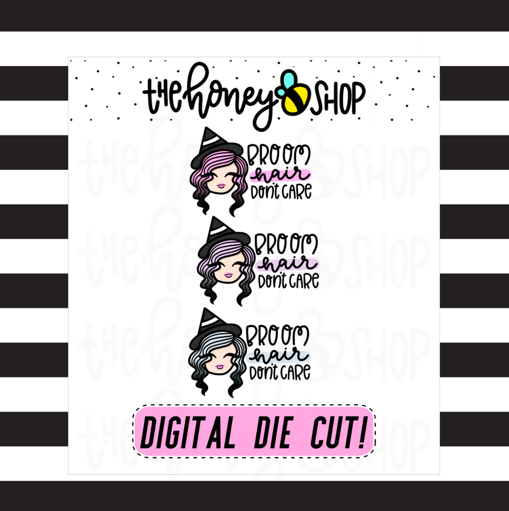 Pastel Broom Hair, Don't Care Babe | DIGITAL DOWNLOAD | PICK YOUR SKIN COLOR