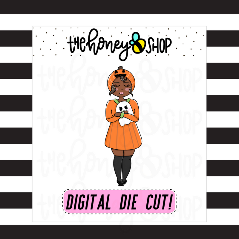 Pumpkin Cutie | INKTOBER DAY 1 | DIGITAL DOWNLOAD | PICK YOUR SKIN TONE
