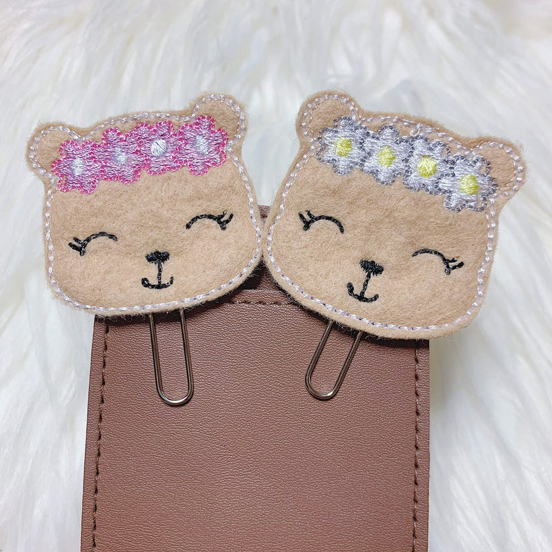 Bear with Flower Crown Feltie Planner Clip