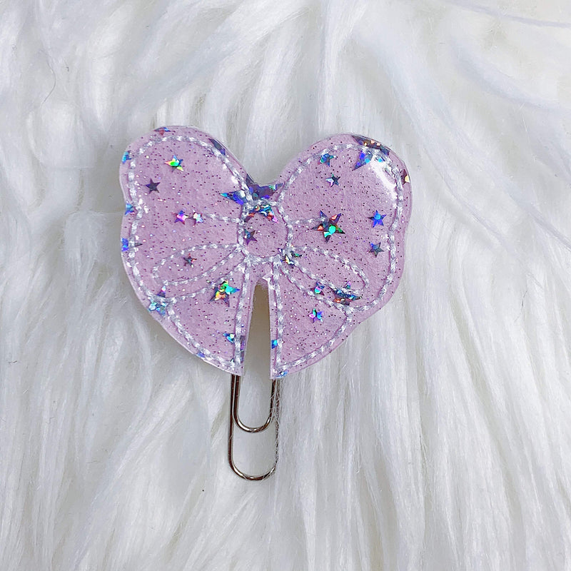 Lilac Cotton Candy Bow Feltie Planner Clip