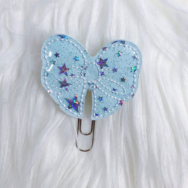 Blue Cotton Candy Bow Feltie Planner Clip