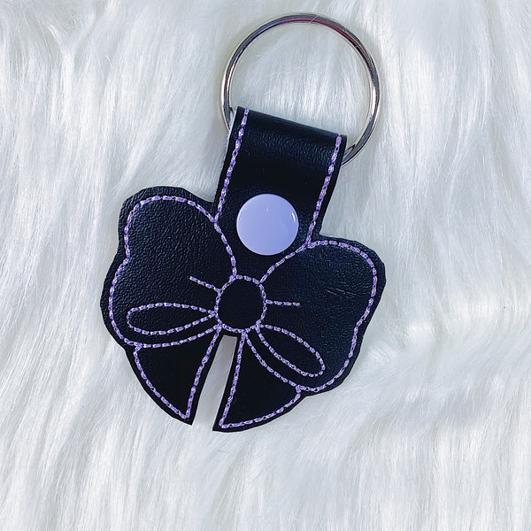 Black with Purple Stitching Bow Feltie Snap-Tab Charm