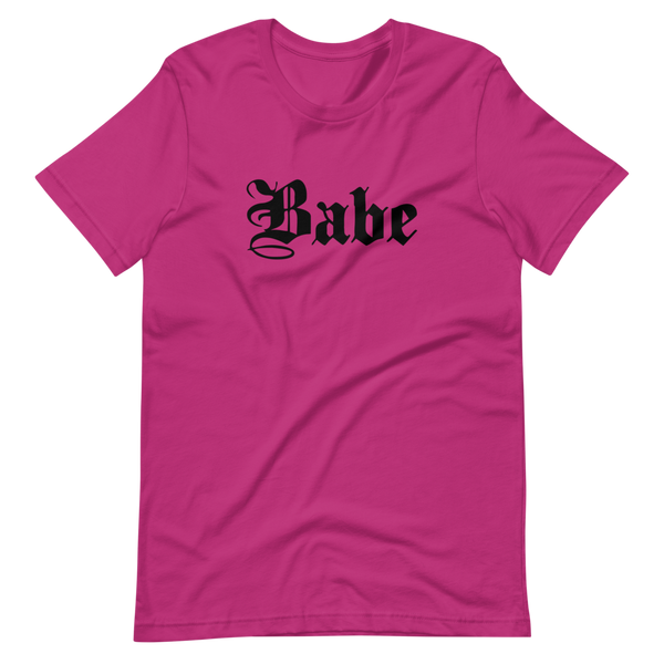 Babe | Berry Unisex T-Shirt | Black Print | Bella + Canvas 3001