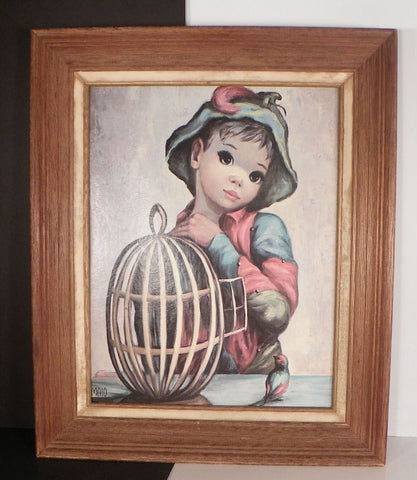 Maio Print Vintage Harlequin Boy with Open Bird Cage Framed Big-Eyed