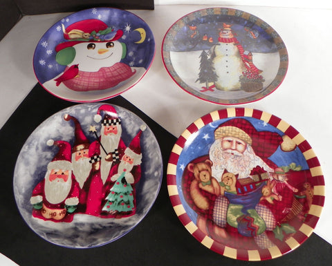 Christmas Salad Cake Snack Plate (s) LOT OF 4 Snowman Santa Red Green Tree
