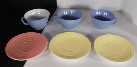 Hazel Atlas Moderntone PLATONITE Glass Cup and Saucer Set (s) LOT OF 3 Pastel
