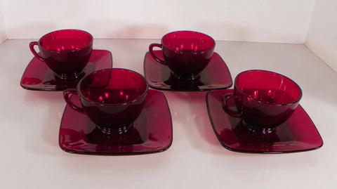 Anchor Hocking CHARM Royal RUBY Red Glass Cup and Saucer Set (s) LOT OF 4