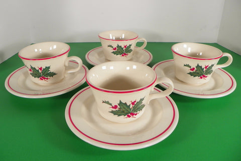 Anchor Hocking HOLIDAY WREATH Ironstone Cup and Saucer (s) LOT OF 4 Christmas