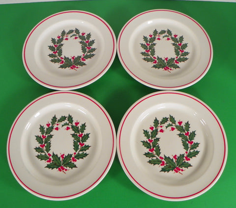 Anchor Hocking HOLIDAY WREATH Ironstone Salad Plate (s) LOT OF 4 Holly Berry