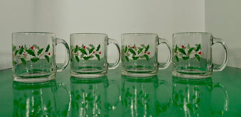 Christmas Holiday Glass Coffee Mug (s) LOT OF 4 Holly Berry