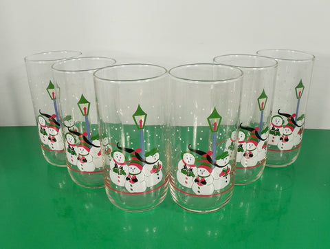 Libbey Christmas Trio of SNOWMAN Singing Carolers Glass Tumbler (s) LOT OF 6