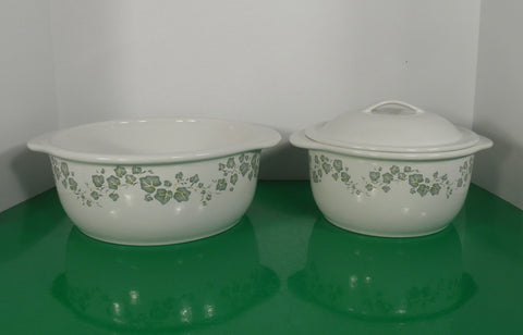 LOT 2 Corelle CALLAWAY Ivy 1-1/2 AND 2-1/2 Qt Casserole Green Leaves Stoneware