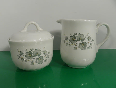 Corelle Coordinates CALLAWAY Creamer and Sugar Bowl Stoneware Green Ivy Leaves