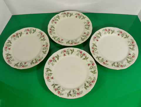 Gibson GID35 Christmas Holly Berries Salad or Pie Plate (s) LOT OF 4
