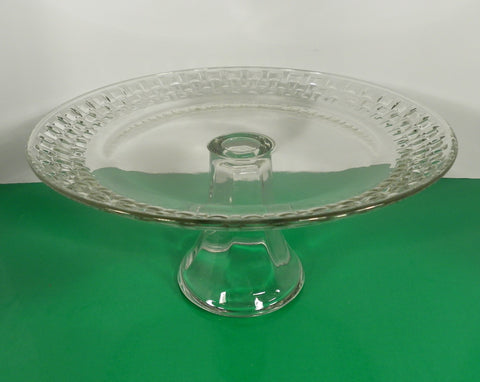 Glass BASKETWEAVE Rim Footed Torte Cake Cheese Plate Stand 9-3/4""