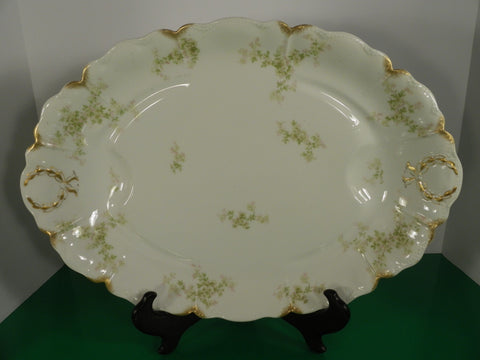 Haviland Limoges Schleiger 67 Large Turkey Meat Platter Gold Daubs Green Pink