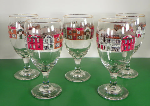 Christmas HOLIDAY VILLAGE Glass Water Goblet (s) LOT OF 5 Lynn's China