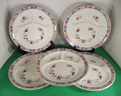 John Maddock & Sons Floral Grill Divided Dinner Plate (s) LOT OF 5