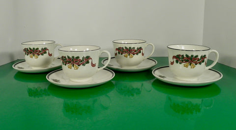 Johnson Brothers VICTORIAN CHRISTMAS Cup and Saucer Set (s) LOT OF 4 England