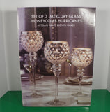 Mercury Glass Hurricane Stemmed Candle Holder (s) SET OF 3 Artisan Hand Blown