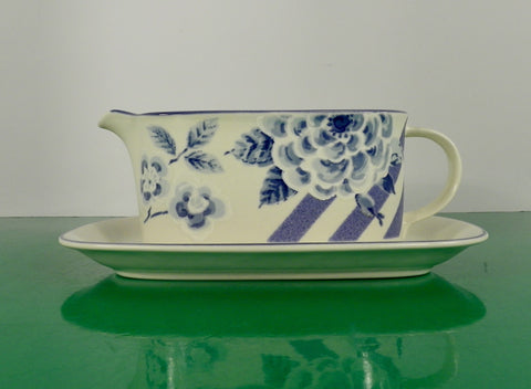 Mikasa BLUE SONATA Gravy Boat with Separate Underplate or Relish Dish Floral