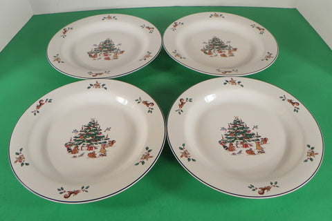 Ming Pao WOODLAND CHRISTMAS Salad Plate (s) LOT OF 4 Forest Animals Tree Holly