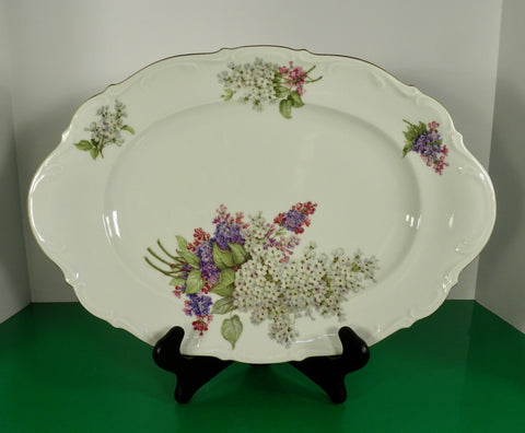 Mitterteich Bavaria LILAC Oval Meat Serving Turkey Platter Scalloped Rim 15-3/4""