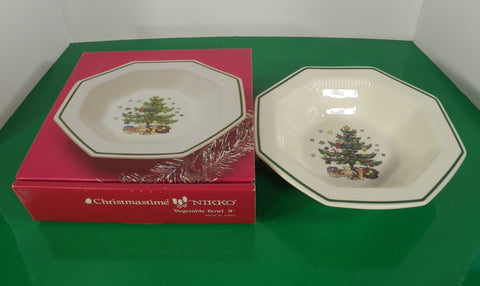 "Nikko CHRISTMASTIME 9"" Round Vegetable Bowl Christmas Tree Pattern Made Japan"